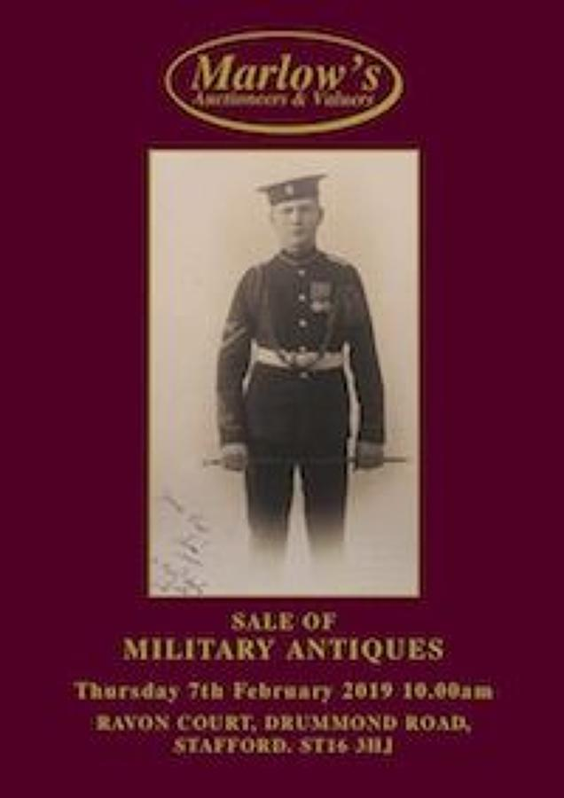 MARLOW'S, STAFFORDSHIRE PUBLIC AUCTION CATALOGUE OF MILITARIA